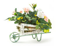 Bouquet of rose in wood cart Stock Photo
