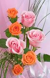 Bouquet of roses. On a pink background Stock Images