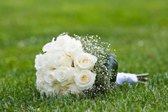 Bouquet of roses. On the grass Royalty Free Stock Photography