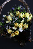 Bouquet of roses. Bouquet of yellow roses isolated on black background Stock Image