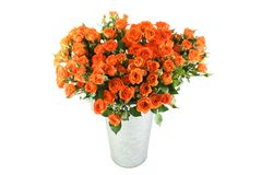 Bouquet of roses. Close-up of a lot of beautiful orange roses in a metal bucket. Isolated on white background royalty free stock photos