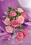 Bouquet of roses. On pink background Royalty Free Stock Photography