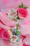 Bouquet of roses. On pink background Stock Photo