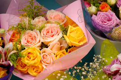 A bouquet of roses. For sale at a market Stock Photo