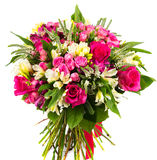 Bouquet of roses and alstroemerias Stock Photo