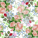 Bouquet roses, background, watercolor,pattern seamless stock illustration