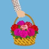 Bouquet of roses in the basket. Hand hold Bouquet of roses in the basket. illustration in flat design Royalty Free Stock Photos