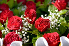 Bouquet of roses. Bouquet of beautiful fresh roses close up Stock Photo