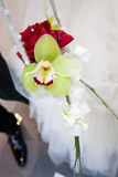Bride Bouquet. Bouquet of the roses on the bed Royalty Free Stock Photography