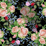 Bouquet roses, black background, watercolor,pattern seamless Royalty Free Stock Images