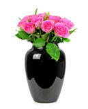A bouquet of roses in a black vase Royalty Free Stock Photos