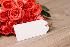 Bouquet of Roses in a Blank sheet of paper for Your Text or Message Royalty Free Stock Image