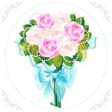 Bouquet of roses. Bouquet of pink and cream-colored roses with a frame from beads Royalty Free Stock Photos