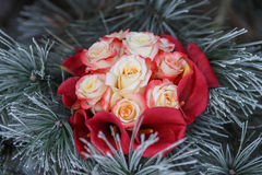 Bouquet of roses and calla lilies Stock Image