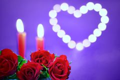 Romantic decoration for Valentine`s day concept. Bouquet of roses and candles on a ultra violet background with heart Stock Images