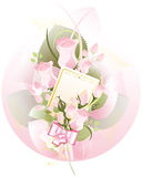 Bouquet of roses with a card Stock Photography