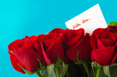 Bouquet of Roses and Card With Love Stock Photography