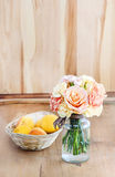 Bouquet of roses and carnations Stock Images