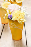 Bouquet of roses, carnations and pansy flowers Royalty Free Stock Photo
