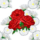Bouquet of roses and chamomiles. Bouquet of rose and chamomile for greeting card or wedding invitation Royalty Free Illustration