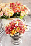 Bouquet of roses and chrysanthemums in vintage silver vase Royalty Free Stock Photography
