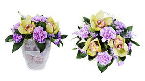 Bouquet of roses,cloves and orchids isolated Stock Photo