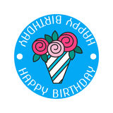Bouquet roses. Color flat icon, label, badge. Birthday greetings  Stock Images