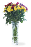 Bouquet of roses in a crystal vase Stock Photo
