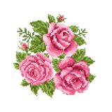 Bouquet of the roses. Embroidery Stock Photography