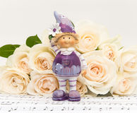 Bouquet of Roses with a Flower Girl Royalty Free Stock Photos