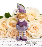 Bouquet of Roses with a Flower Girl Royalty Free Stock Photo