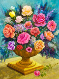 Bouquet of Roses in a Footed Bowl Royalty Free Stock Image