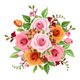 Bouquet of roses and freesia flowers. Vector illustration. Vector bouquet of pink and orange roses and freesia flowers and green leaves on a white background Stock Photography