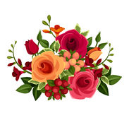Bouquet of roses and freesia flowers. Vector illustration. Royalty Free Stock Photos