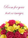 Bouquet of roses and freesias. With copy space Stock Images