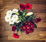 Bouquet of roses, gerberas, lilies and chrysanthemums, Valentine stock image