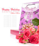 Bouquet of roses and a gift box for the holiday Stock Photos