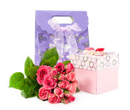 Bouquet of roses and gift box Royalty Free Stock Image