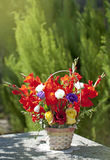 Bouquet of roses and gladiolus Stock Photography