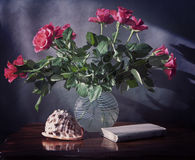 Bouquet of roses in glass, shell and old book on wooden table, v Stock Images