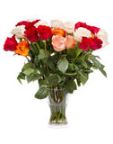 Bouquet of roses in a glass vase Stock Photos