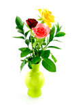 Bouquet roses in green vase. On white background Royalty Free Stock Image