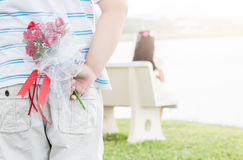 Bouquet Roses in hand man for little bride Stock Image