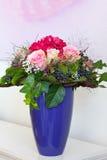 Bouquet roses hydrangea vase copyspace Stock Photo