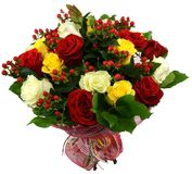 Bouquet of roses and hypericum Royalty Free Stock Photography