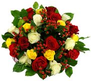Bouquet of roses and hypericum in package Stock Photo