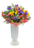 Bouquet of roses, iris, alstroemeria, nerine and other flowers. Delicate beautiful bouquet of roses, iris, alstroemeria, nerine and other flowers with colored Stock Photography