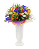 Bouquet of roses, iris, alstroemeria, nerine and other flowers. Delicate beautiful bouquet of roses, iris, alstroemeria, nerine and other flowers with colored Stock Image