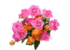 Bouquet of roses with leaves Royalty Free Stock Photography