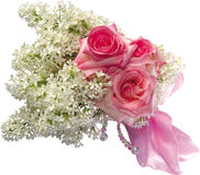 Bouquet of roses and lilac. Stock Photos